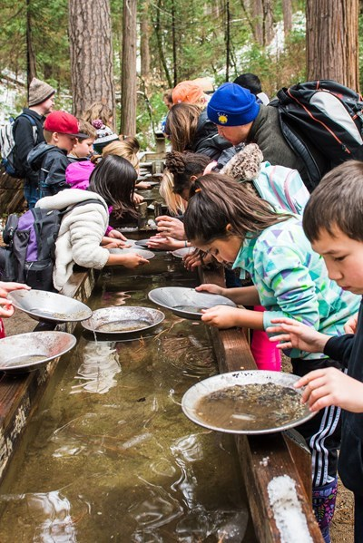 Kids panning for gold